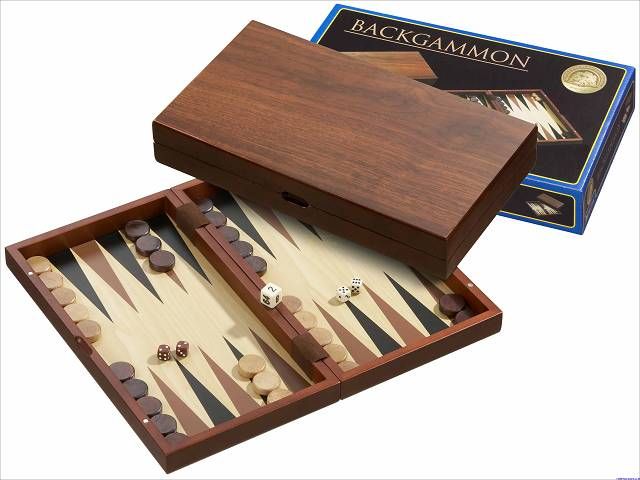 Backgammon-Kassette Medium - Erle und Mahagoni
