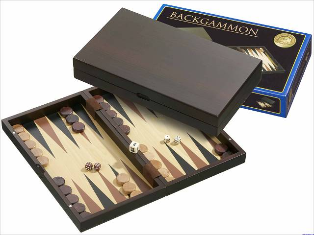 Backgammon-Kassette Medium - Erle in Wengedesign