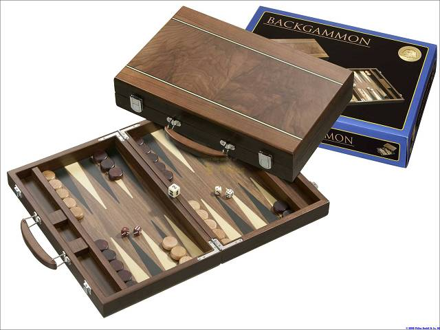 Backgammon-Koffer - Walnussdesign
