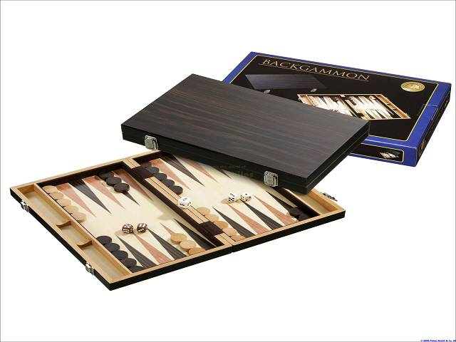 Backgammon-Kassette - Buche - Ebenholzdesign