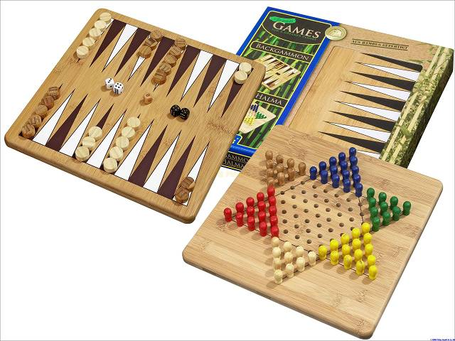 Backgammon + Halma Set aus Bambus